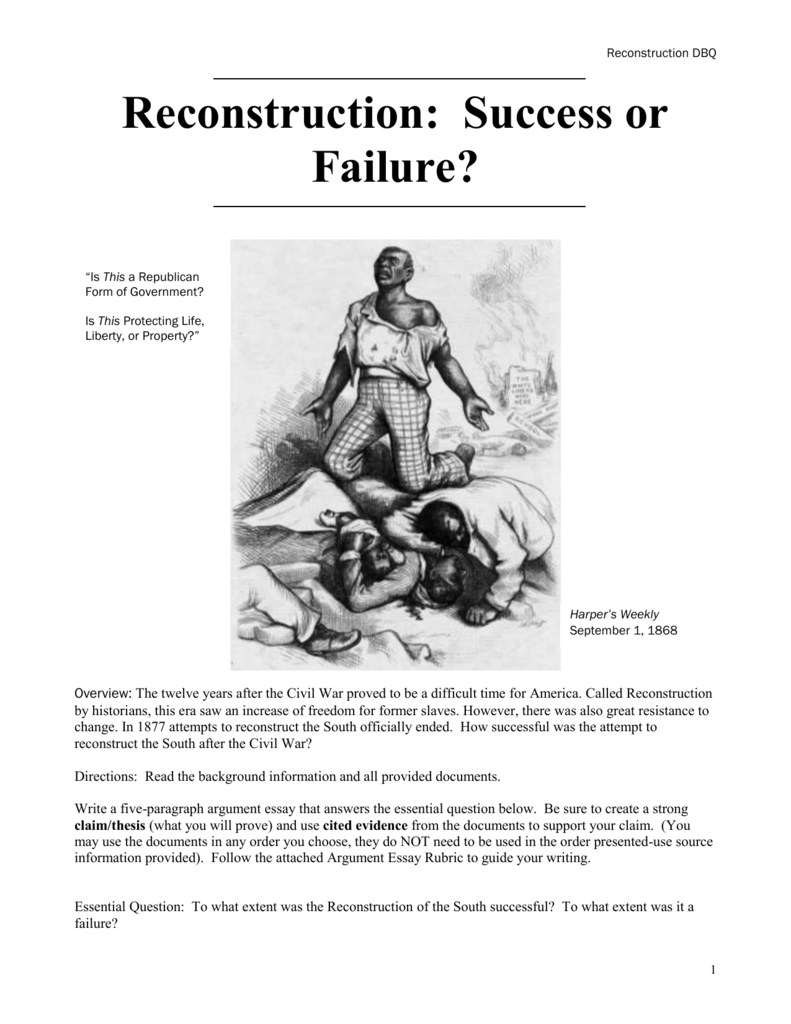 was reconstruction a success or failure essay