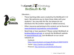 How do birds vocalize? - BirdSleuth K-12
