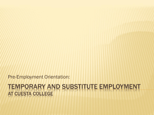 Temporary and Substitute Employment at Cuesta College