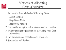 Methods of Allocating Costs
