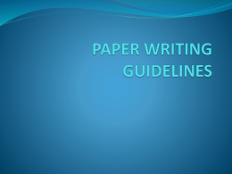 paper writing guidelines - PTA-2200 Fundamentals of Physical