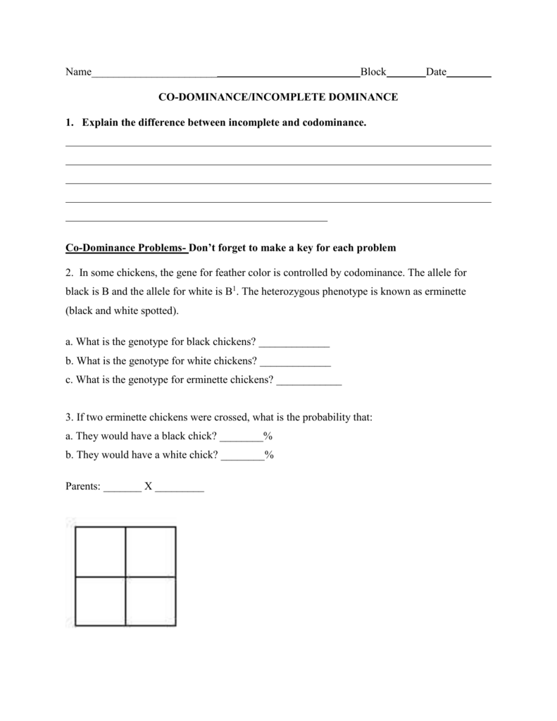 worksheet Incomplete Dominance And Codominance Worksheet – Incomplete Dominance Worksheet