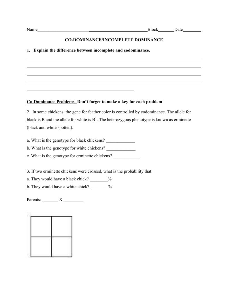 Co Dominance Incomplete Dominance Worksheet 2