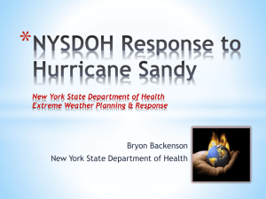 NYSDOH Response to Hurricane Sandy New York State