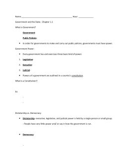 American Government Worksheet Chapter 3