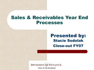 Sales & Receivables Year End Processes