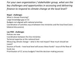 For your own organization / stakeholder group, what are the key