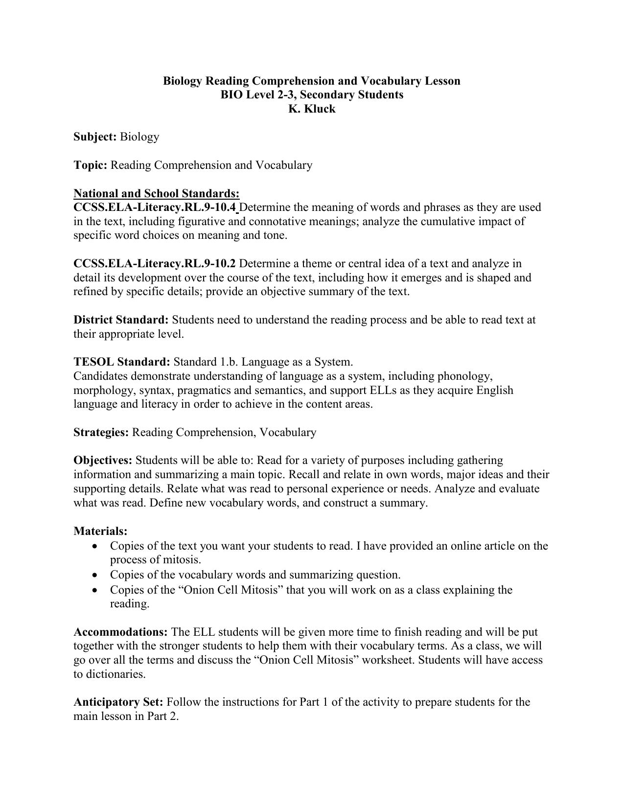 Worksheets Biology Reading Comprehension Worksheets worksheet central idea grass fedjp study site biology reading comprehension and