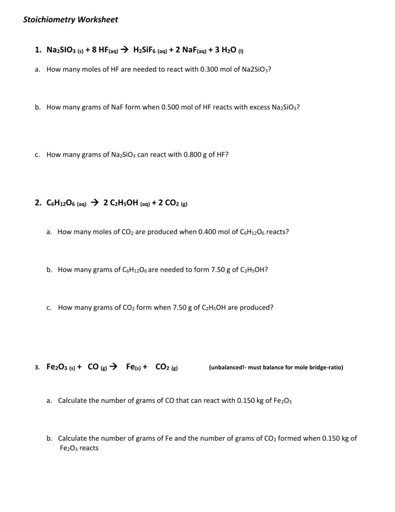 Stoichiometry Worksheet1 – Mole-mole Stoichiometry Worksheet