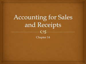 Accounting for Sales and Receipts