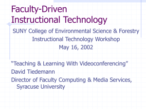 Instructional Videoconferencing - SUNY College of Environmental