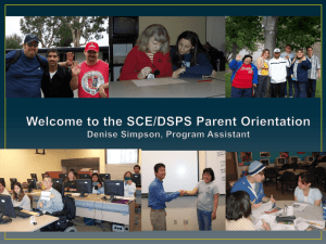 Parent and Support Person Orientation