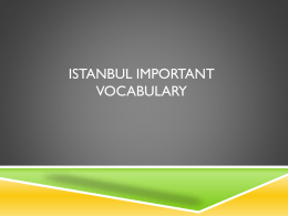 Istanbul important vocabulary