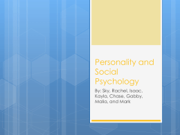 Personality & Social Psych