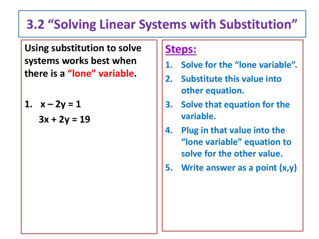 7 2 *Solving Systems with Substitution