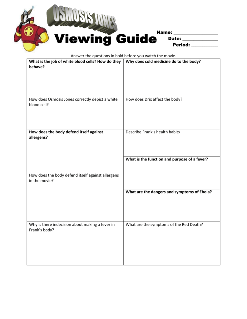 Uncategorized Osmosis Jones Worksheet osmosis jones viewing guide