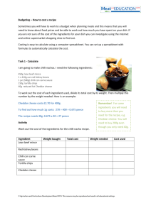 Budgeting - how to cost a recipe worksheet