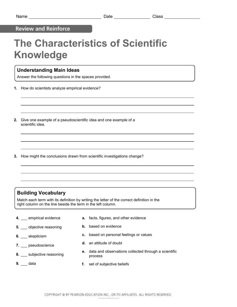 the characteristics of scientific knowledge understanding main ideas