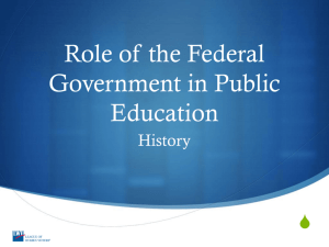 Role of the Federal Government in Public Education: History