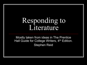 Responding to Literature - Colorado Mesa University