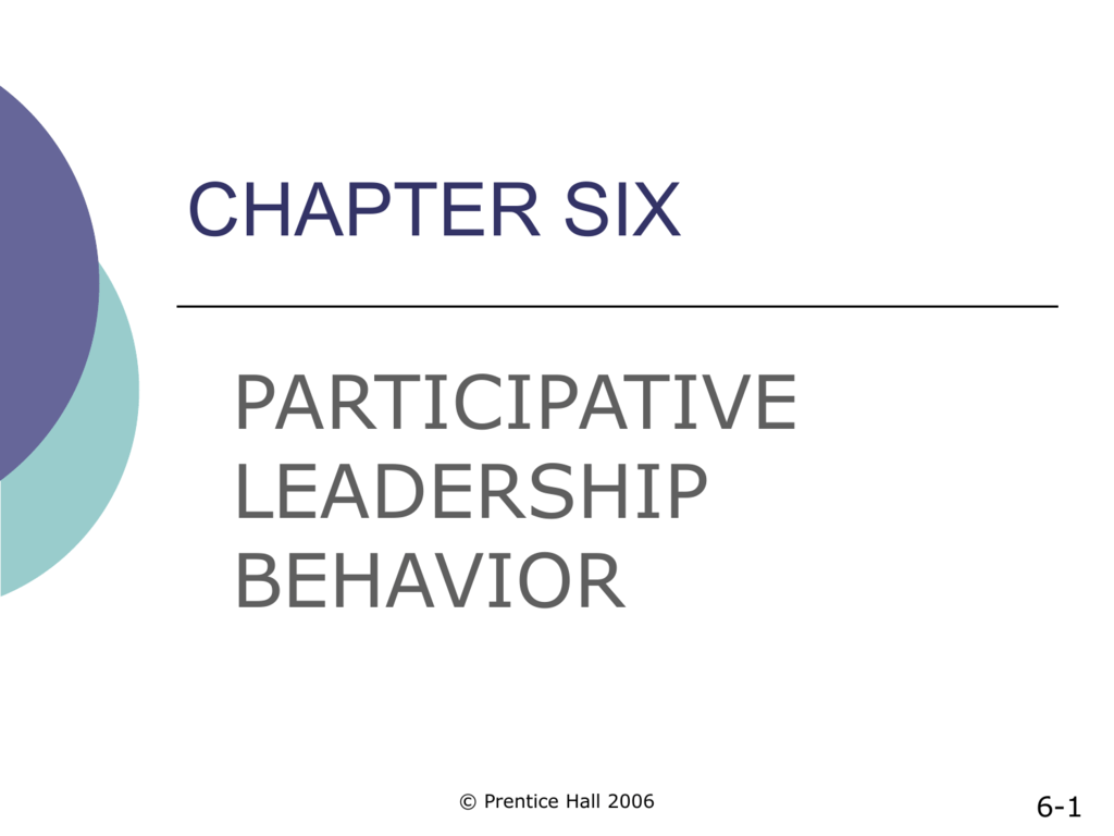 chapter 6 participative leadership behavior
