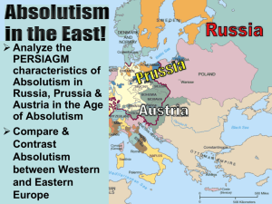 Russia Austria Analyze the PERSIAGM characteristics of Absolutism