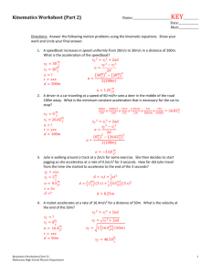 Kinematics Worksheet (Part 2)