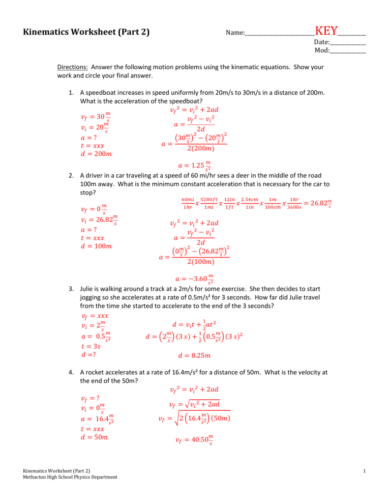 Worksheets Kinematics Worksheet kinematics worksheet part 2