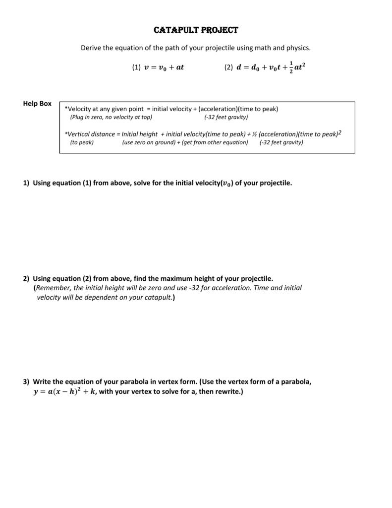 Catapult project algebra worksheet falaconquin