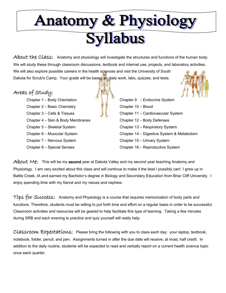 Human Anatomy Physiology Syllabus