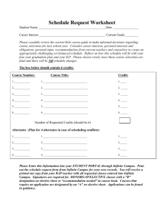Student Schedule Request Worksheet