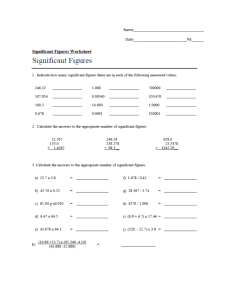 Significant Figures Worksheet packet