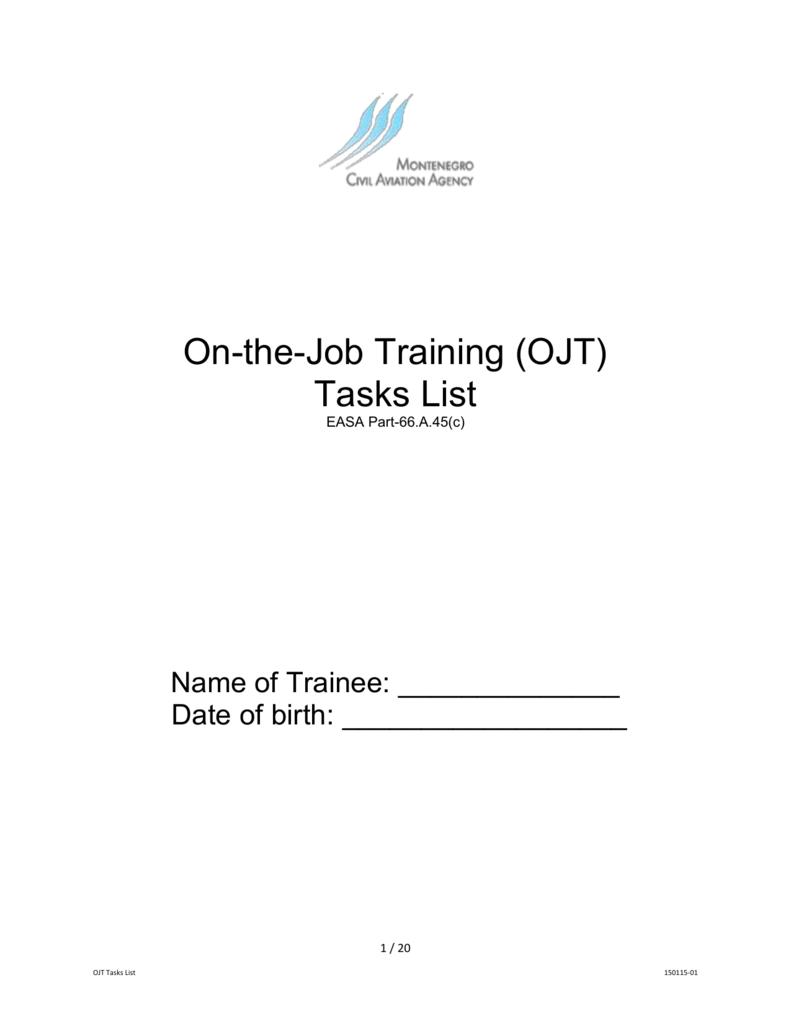 on the job training ojt tasks list easa part