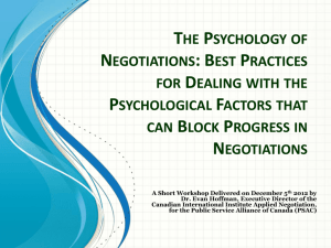 The Psychology of Negotiations