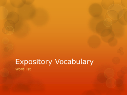 Expository Vocabulary