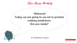 A Prediction Lesson