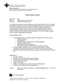 Project Assistant Position