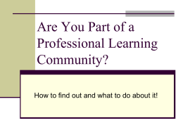 Are You Part of a Professional Learning Community?