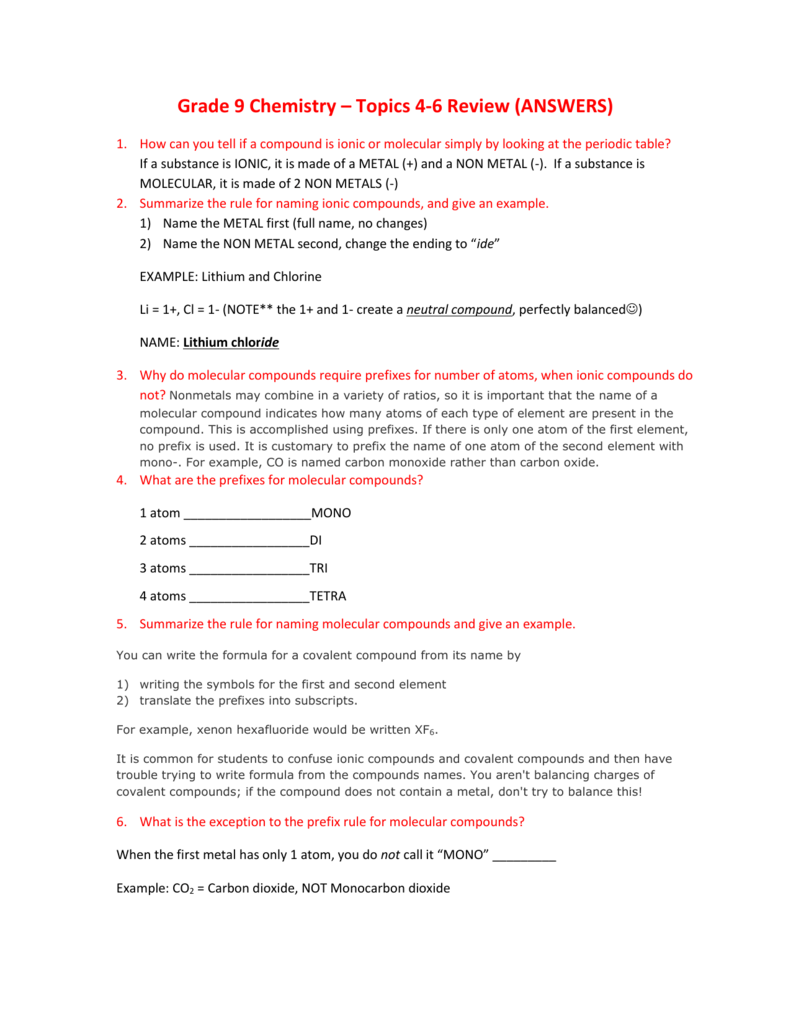 worksheet Naming Molecular Compounds Worksheet Answers grade 9 chemistry topics 4 6 review