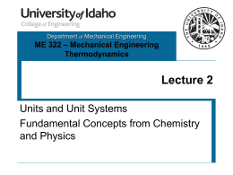 LECT 2 - Unit Systems, Chemistry & Physics Concepts