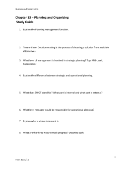 Chapter 13 – Planning and Organizing Study Guide