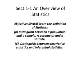 Sect. 1-1 An Overview of Statistics