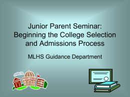 Junior Parents* Workshop: The College Application Process