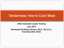 Tenderness How to Cook Meat ppt.