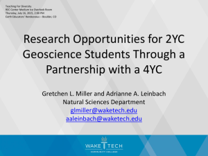Research Opportunities for 2YC Geoscience
