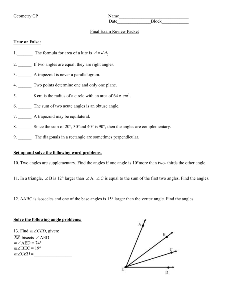 CP Geometry Midterm Review Packet