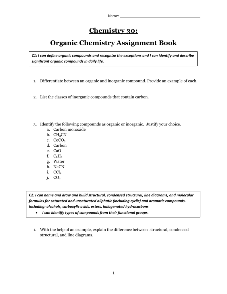 Organic Chemistry Assignment Book