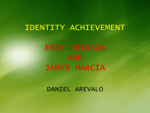 IDENTITY ACHIVEMENT BY ERIK ERIKSON AND JAMES MARCIA