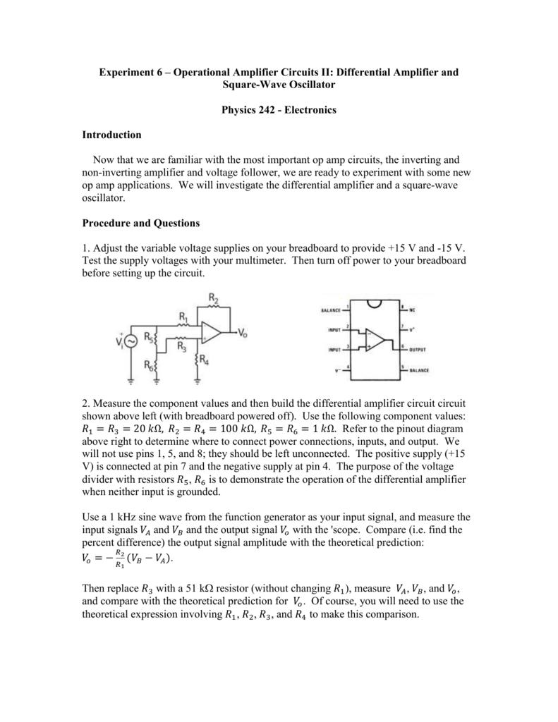 Lab 6 Manual Square Wave Oscillator Circuit