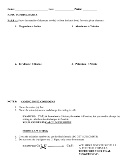 Ionic Bonds Practice worksheet Complete the chart for each element